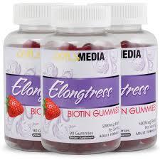 elongtress biotin gummies 5000mcg 3 bottles elongtress hair