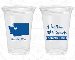 clear plastic cups for wedding washington wedding printed clear cups destination wedding state