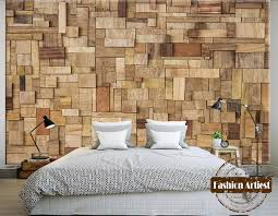 custom 3d wallpaper mural style wooden stick board tv