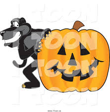 halloween pumpkin cartoons royalty free cartoon of a black jaguar with a halloween pumpkin by