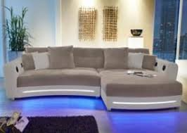 sofa mit beleuchtung ecksofa in weiß kunstleder und grau microfaser inkl