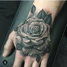 rose black white hand tattoo tattoo tattooed tattoos hand