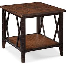 Pine End Tables Fleming Industrial Rustic Pine Wood And Metal End Table Free