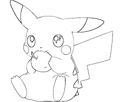 pikachu coloring pages eating apple coloringstar