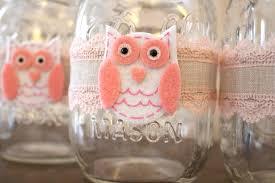 baby shower owl centerpiece mason jar wraps owl themed