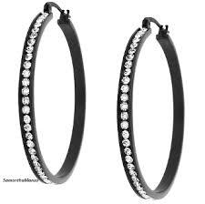 black hoop earrings black stainless steel pave set swarovski hoop earrings