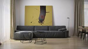 living room green living room features full mural wall art also minimalist living room features yellow bold painting dark gray fabric sofa floor to ceiling windows sheer