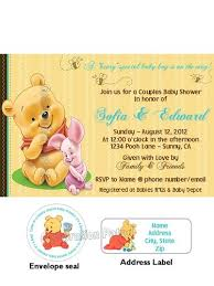 winnie the pooh baby shower invitations winnie the pooh baby shower invitation w address labels and seals
