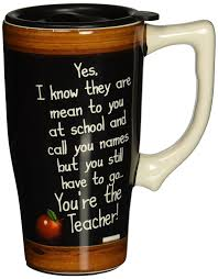 Elegant Coffee Mugs Amazon Com Spoontiques Teacher Travel Mug Black Kitchen U0026 Dining