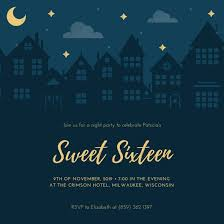 dark navy blue and gold night sweet 16 invitation templates by canva