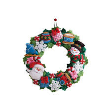 bucilla christmas bucilla christmas toys felt applique wall hanging wreath kit