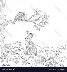 fox crow fairy tale coloring book royalty free vector