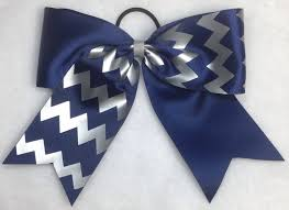 hair bow navy and silver chevron sport hair bow