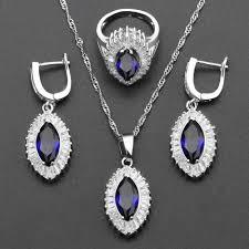 zircon blue necklace images Eye white zircon blue opal wedding jewelry sets for women silver jpg