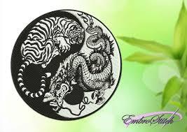 tiger yin yang black white embroidery design 3 sizes