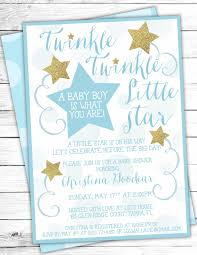 blue gold twinkle twinkle little star baby shower invites star