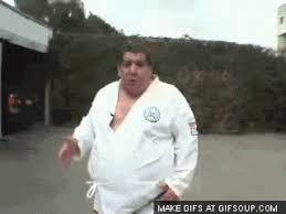imagenes gif karate fight fat comedy karate animated gif popkey