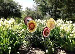 garden glass flowers made out dishes creating