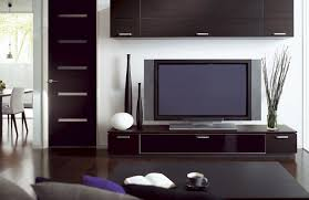 minimalist living room with tv stand table lamp wooden coffee