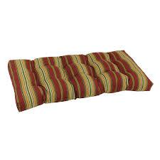 Patio Bench Cushion by Shop Blazing Needles Kingsley Stripe Ruby Stripe Patio Loveseat