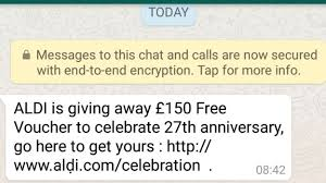 siege social aldi whatsapp how the supermarket voucher scam works