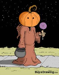 halloween pumpkin cartoons hooded halloween pumpkin trick or treater cartoon