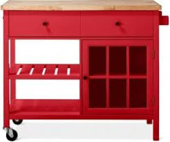 threshold windham wood top kitchen island with casters red