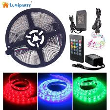 music led strip lights lumiparty waterproof music led strip light 16 4ft 300leds rgb smd