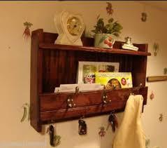 24 u201d handcrafted rustic wood wall mount mail key organizer shelf