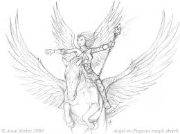 angel and pegasus sketch by ironshod on deviantart