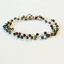beaded wire bracelet images Boho chic wire wrapped beaded crochet bracelet jpg