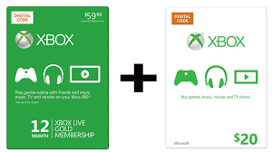 xbox cards buy a year of live gold get a 20 xbox gift card