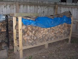 small backyard rustic house design with diy outdoor firewood rack