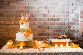 fall wedding centerpieces gold white and orange cake loversiq