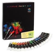 acrylic paint 18 x 12ml royal art supplies