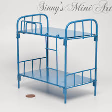 Doll House Bunk Bed 1 12 Dollhouse Miniature Bunk Beds Blue Miniature Beds Dollhouse