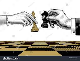 womans mans hands king horse chess stock vector 578576656