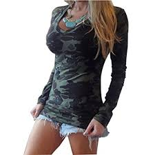 women camouflage long sleeve v neck t shirt tos blouse at amazon