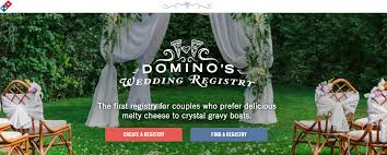 find someone s wedding registry to pizza domino s pizza wedding registry is a thing now