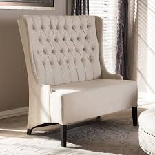 amazon com baxton studio vincent beige linen modern loveseat