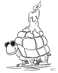 turtle candle coloring free printable coloring pages