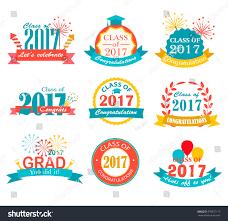 graduation signs graduation 2017 badges emblem set collection stock vector
