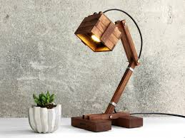 steampunk lamp industrial desk lamp wooden lamp bedside