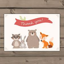 woodland thank you cards baby shower thank you card instant