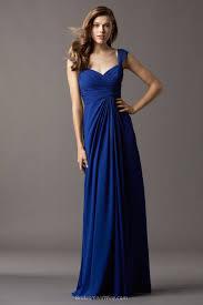 cap sleeve floor length long royal blue chiffon draped bridesmaid