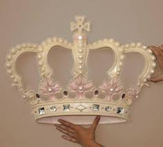 cream pink princess crown 3d wall art decor by beetling design