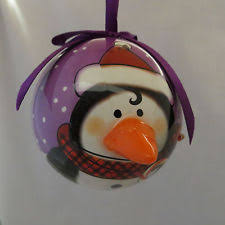 country pig blinking nose lights christmas ornament ball twinkling