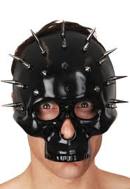 halloween mask costume black skull mask with silver spikes black skeleton halloween mask