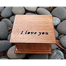 Engraved Music Box Custom Engraved Music Box With I Love You On Top Handmade By
