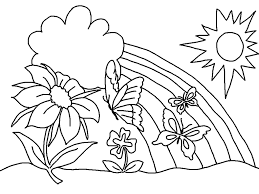 spring coloring pages butterfly flower sun coloringstar